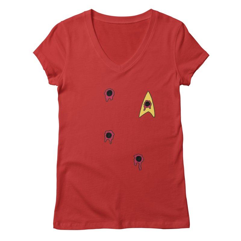Red Shirt Human Women's Regular V-Neck by Lee Draws Stuff