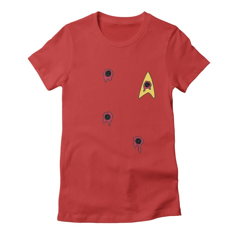 Red Shirt Human Women's Fitted T-Shirt by Lee Draws Stuff