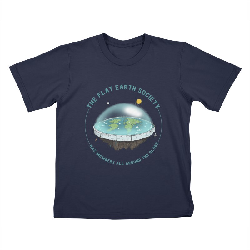 The Flat Earth Society has members all around the globe Kids T-Shirt by leegrace.com
