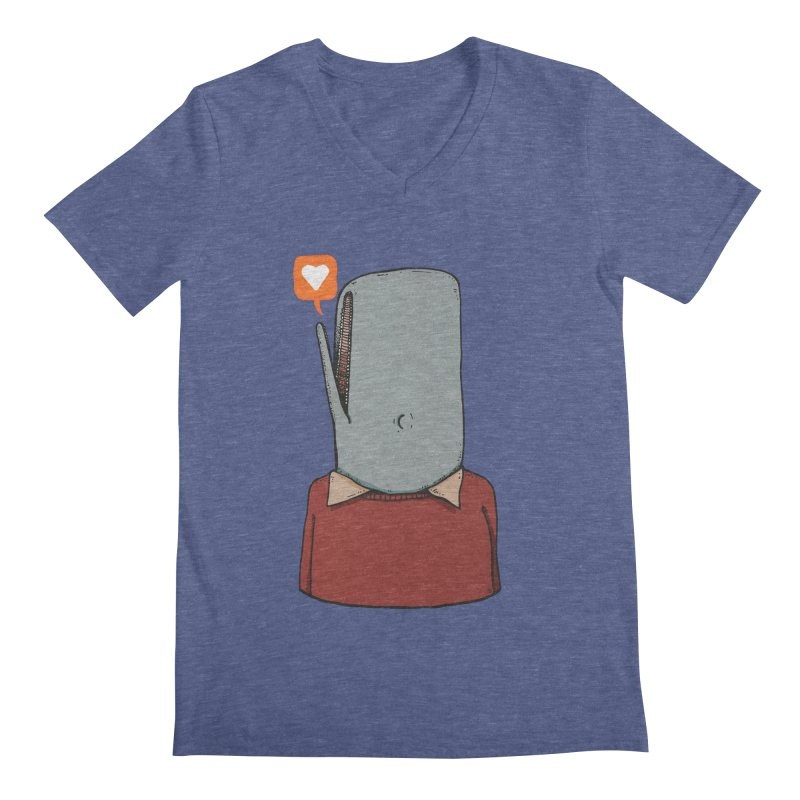 The Love Whale Men's Regular V-Neck by leegrace.com