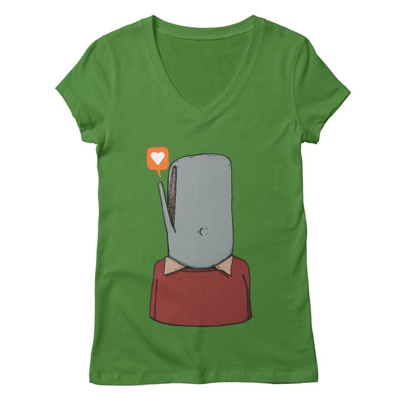 The Love Whale Women's Regular V-Neck by leegrace.com