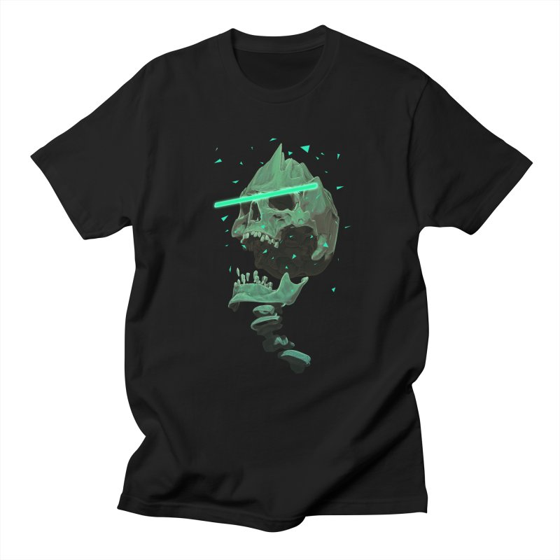 Green Nuclear 80's Skull in Men's Regular T-Shirt Black by Lee Petty Art Stuff!