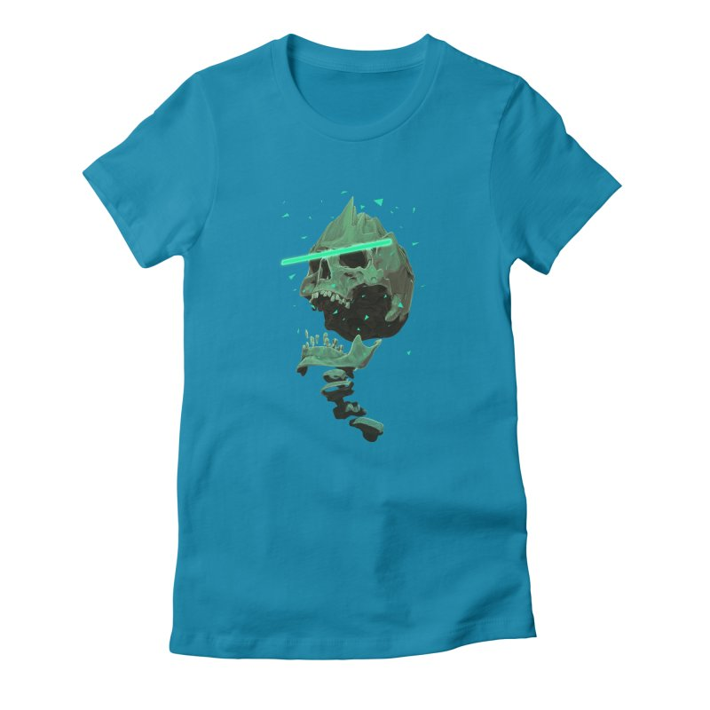 Green Nuclear 80's Skull Women's T-Shirt by Lee Petty Art Stuff!
