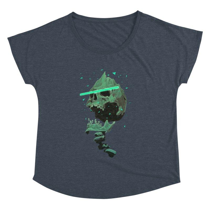 Green Nuclear 80's Skull Women's Dolman Scoop Neck by Lee Petty Art Stuff!
