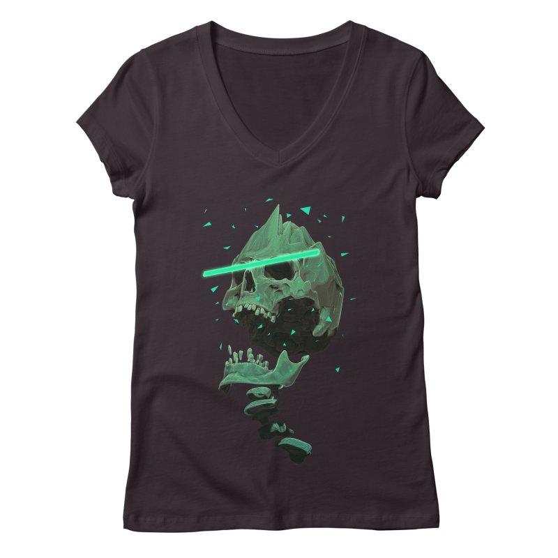 Green Nuclear 80's Skull Women's V-Neck by Lee Petty Art Stuff!