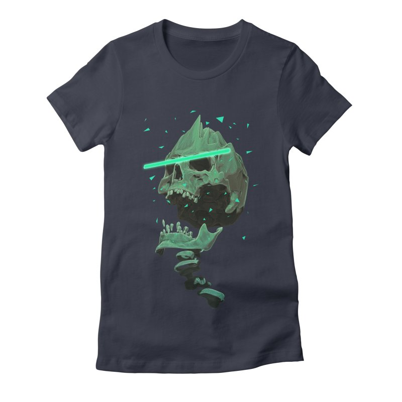 Green Nuclear 80's Skull Women's Fitted T-Shirt by Lee Petty Art Stuff!