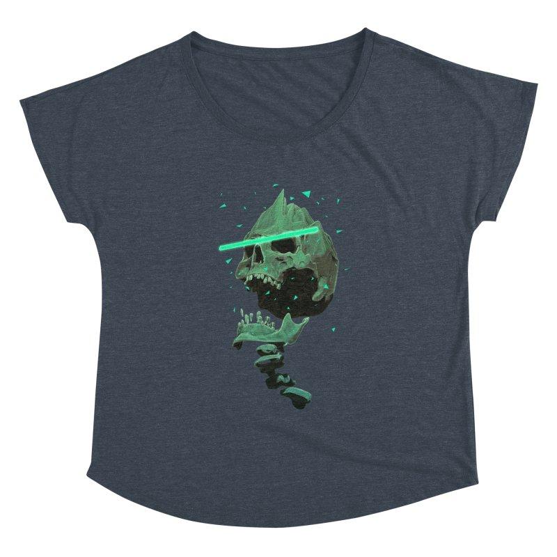 Green Nuclear 80's Skull Women's Scoop Neck by Lee Petty Art Stuff!