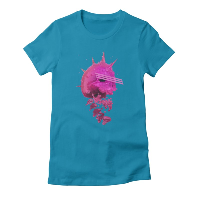 Pink Neon 80's Skull Women's T-Shirt by Lee Petty Art Stuff!