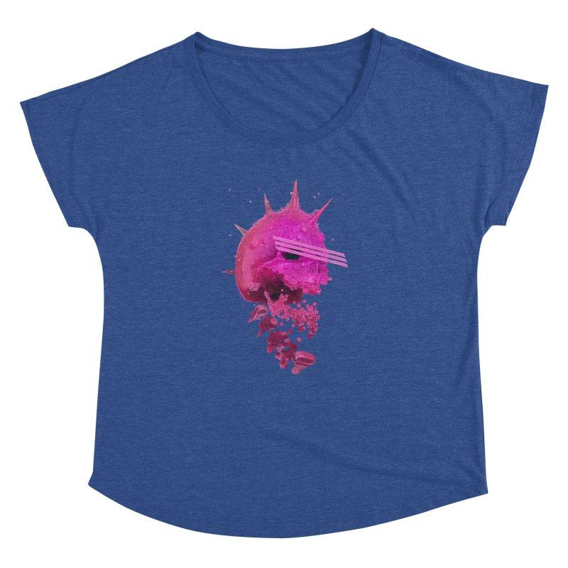 Pink Neon 80's Skull Women's Dolman Scoop Neck by Lee Petty Art Stuff!