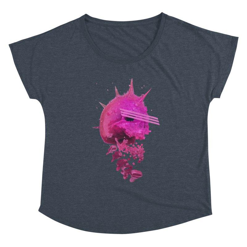 Pink Neon 80's Skull Women's Scoop Neck by Lee Petty Art Stuff!
