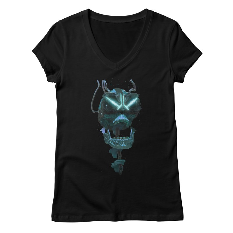 VR Skull Women's Regular V-Neck by Lee Petty Art Stuff!