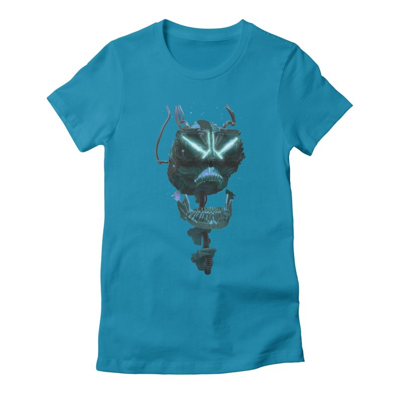 VR Skull Women's Fitted T-Shirt by Lee Petty Art Stuff!