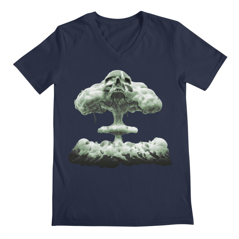 Nuclear Skull Cloud Men's Regular V-Neck by Lee Petty Art Stuff!