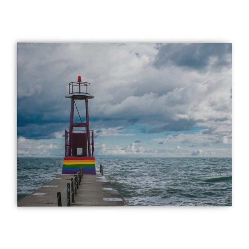 Rainbow Pier Home Stretched Canvas by leff.photo