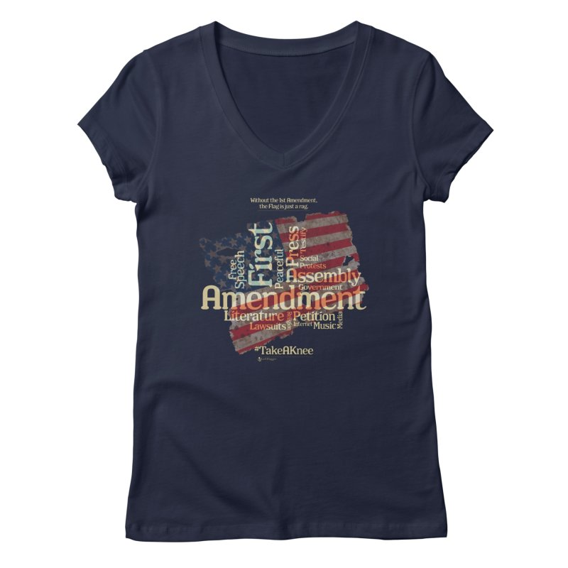 The Flag is just a rag... Women's Regular V-Neck by Lefthugger