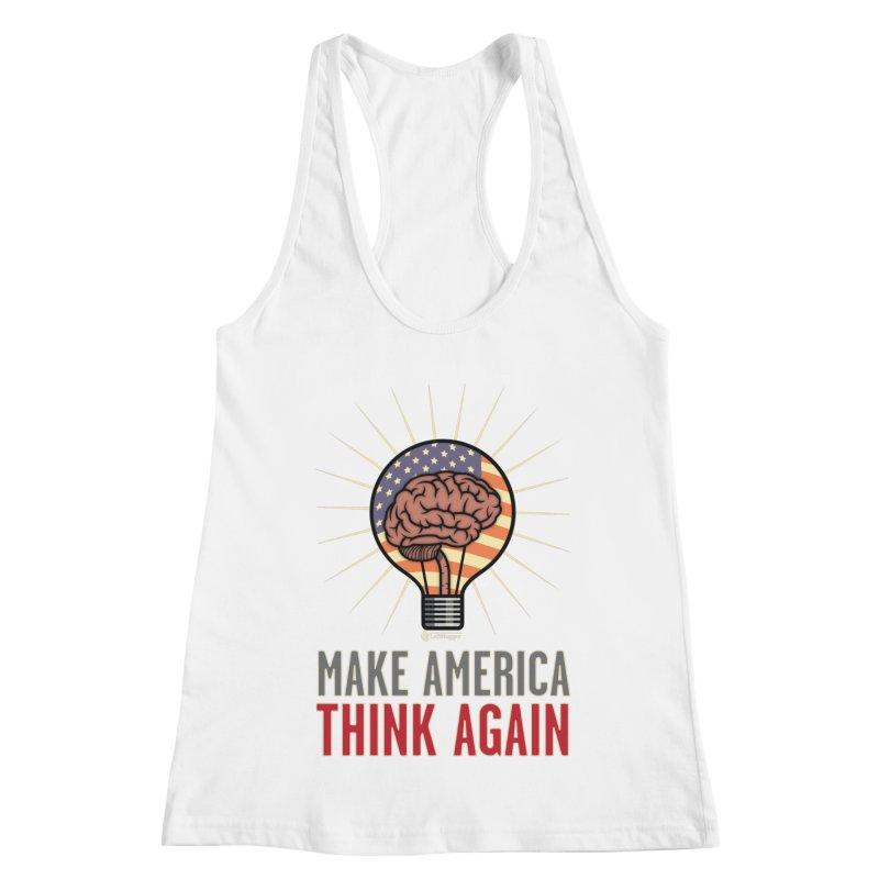BrainBulb - MAKE AMERICA THINK AGAIN 1 Women's Racerback Tank by Lefthugger