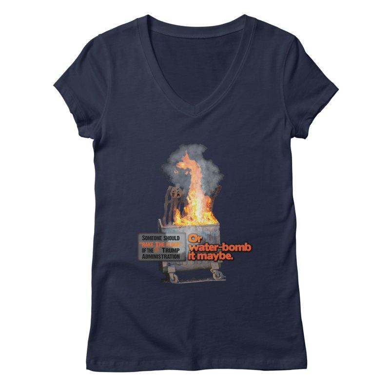 Dumpster Fire! Women's Regular V-Neck by Lefthugger