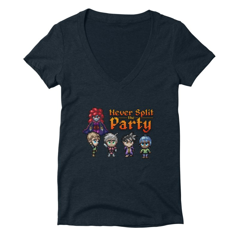 Never Split the Party Merch Women's Deep V-Neck V-Neck by Legend Studio Shop