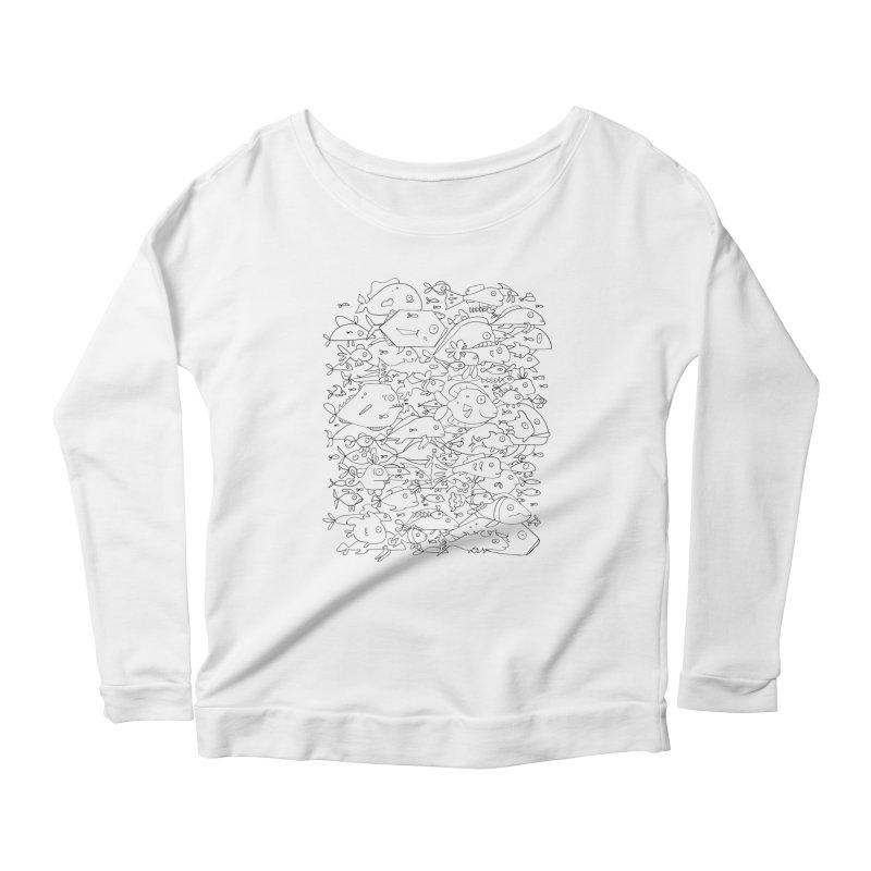 Funky Fish School Women's Scoop Neck Longsleeve T-Shirt by Legend Studio Shop