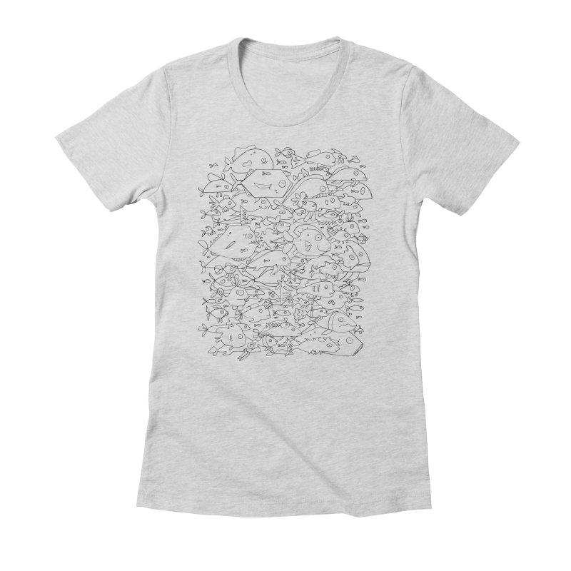 Funky Fish School Women's Fitted T-Shirt by Legend Studio Shop