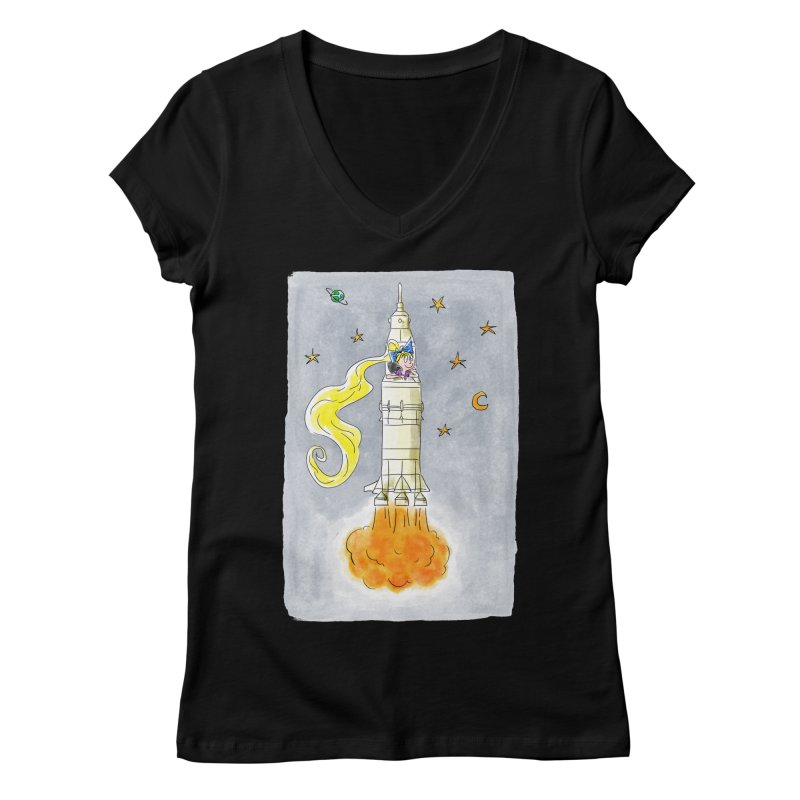 Rocket Rapunzel Women's V-Neck by Dorota Wieczorek