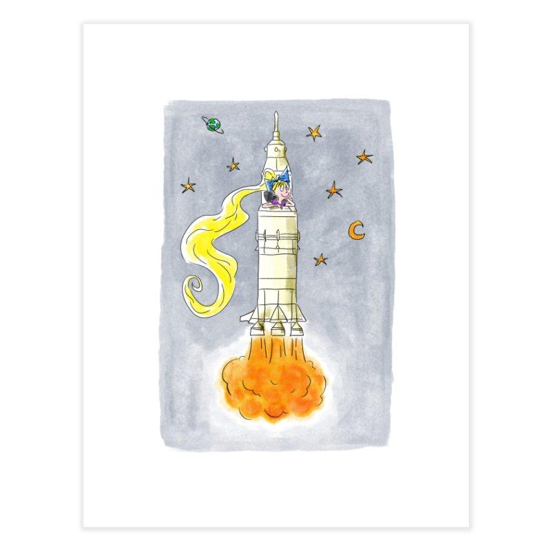 Rocket Rapunzel Home Fine Art Print by Dorota Wieczorek