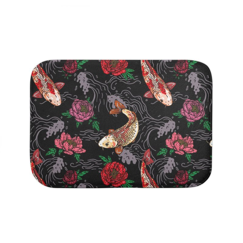 Koi and Peonies Pattern Home Bath Mat by Lena_Graphic Artist Shop