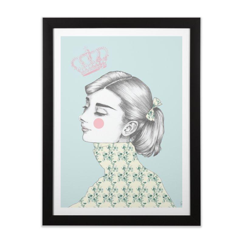 Audrey Hepburn in Framed Fine Art Print Black by Lena Ilustra's Artist Shop
