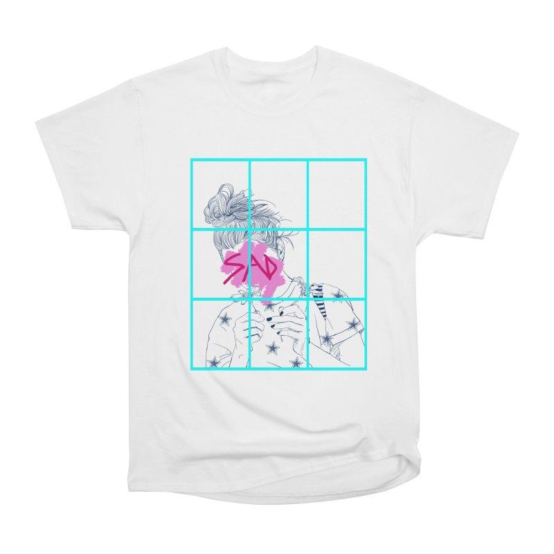 Sad Girl 2 in Women's Classic Unisex T-Shirt White by Lena Ilustra's Artist Shop
