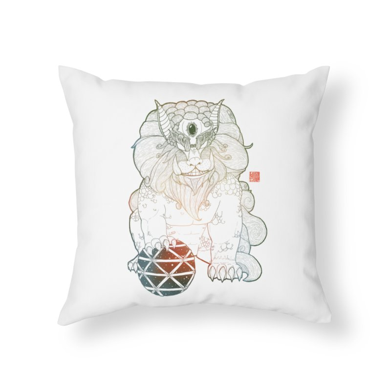 Shisa Home Throw Pillow by Lenny B. on Threadless