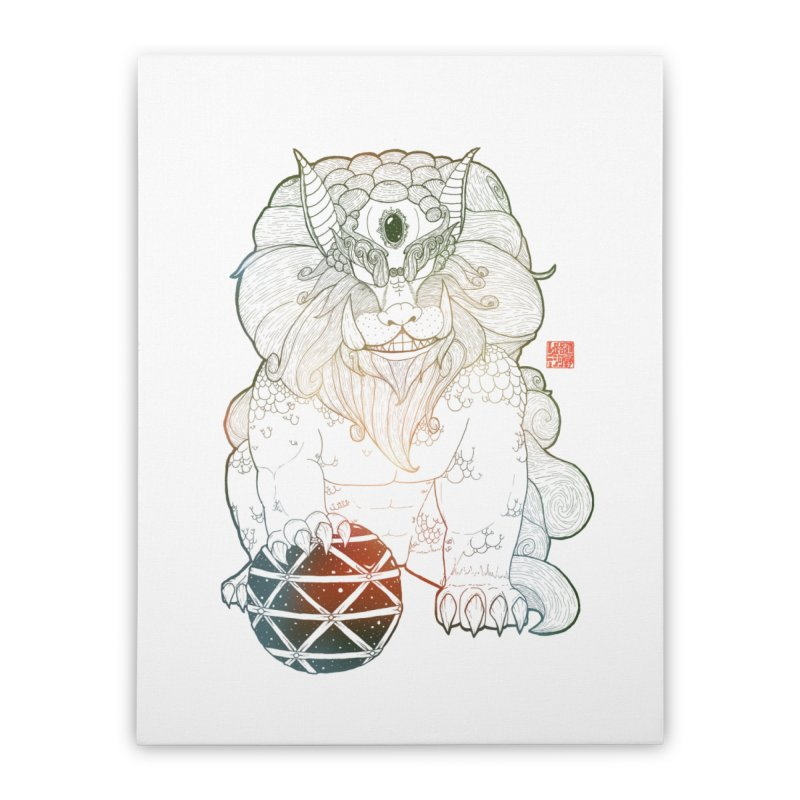 Shisa Home Stretched Canvas by Lenny B. on Threadless