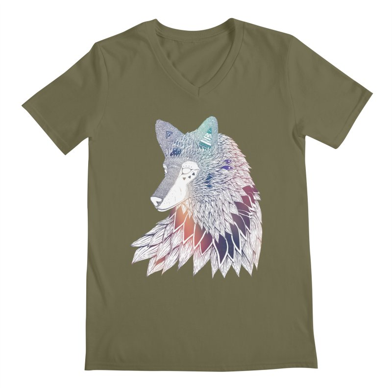 Lone Wolf Men's V-Neck by Lenny B. on Threadless