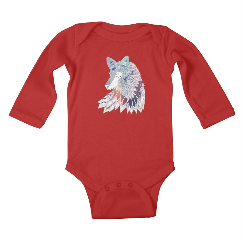 Lone Wolf Kids Baby Longsleeve Bodysuit by Lenny B. on Threadless