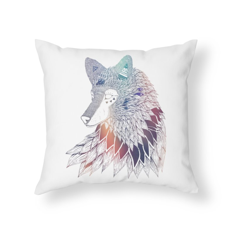 Lone Wolf Home Throw Pillow by Lenny B. on Threadless