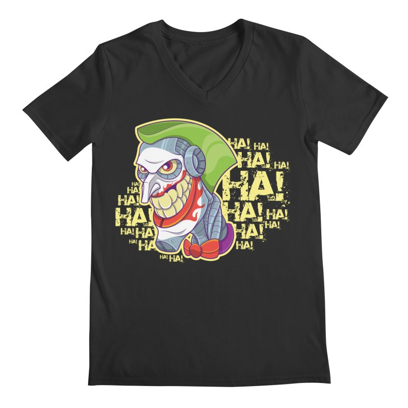 Robot Joker Men's Regular V-Neck by leogoncalves's Artist Shop