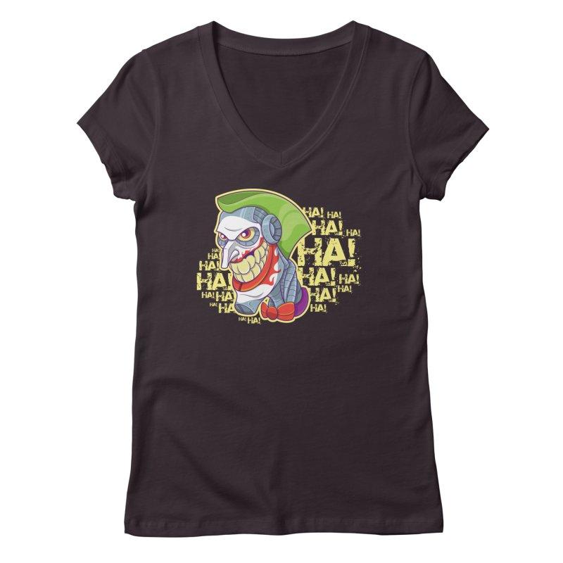 Robot Joker Women's Regular V-Neck by leogoncalves's Artist Shop