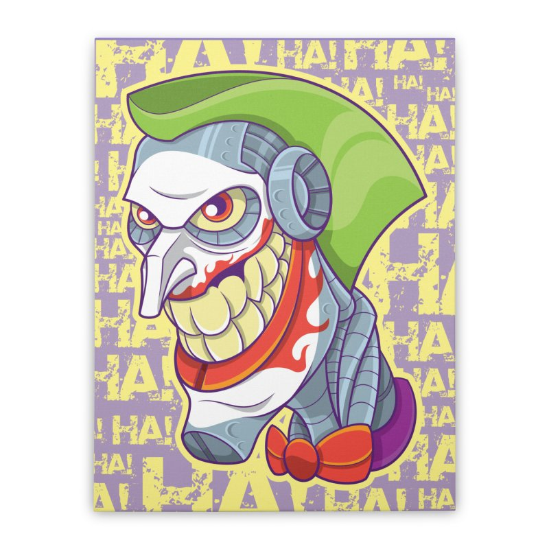 Robot Joker Home Stretched Canvas by leogoncalves's Artist Shop