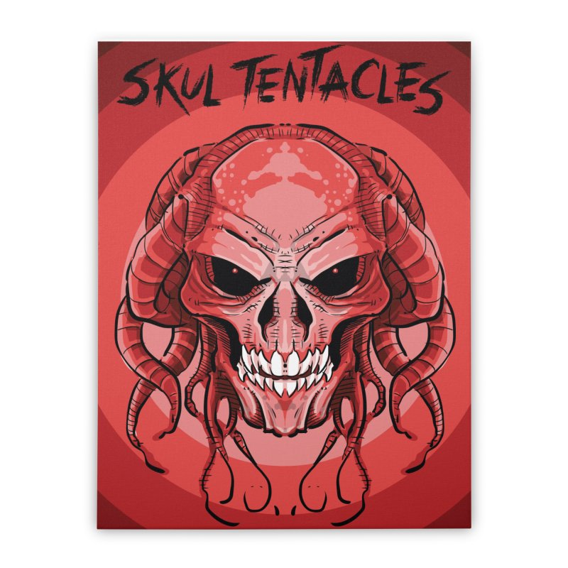Skull Tentacles Home Stretched Canvas by leogoncalves's Artist Shop