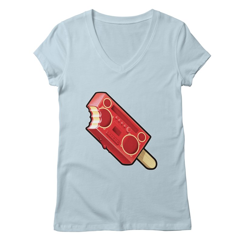 BoomPop Women's Regular V-Neck by Leon's Artist Shop