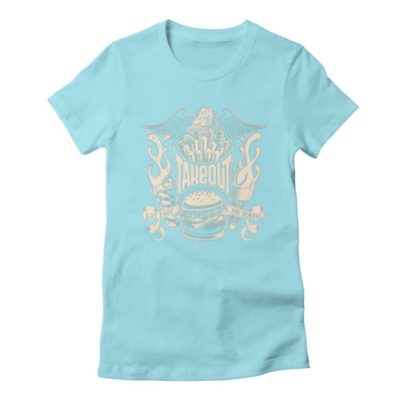 Takeout Women's Fitted T-Shirt by Leon's Artist Shop