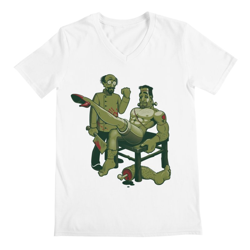 FrankenFine Men's V-Neck by Leon's Artist Shop