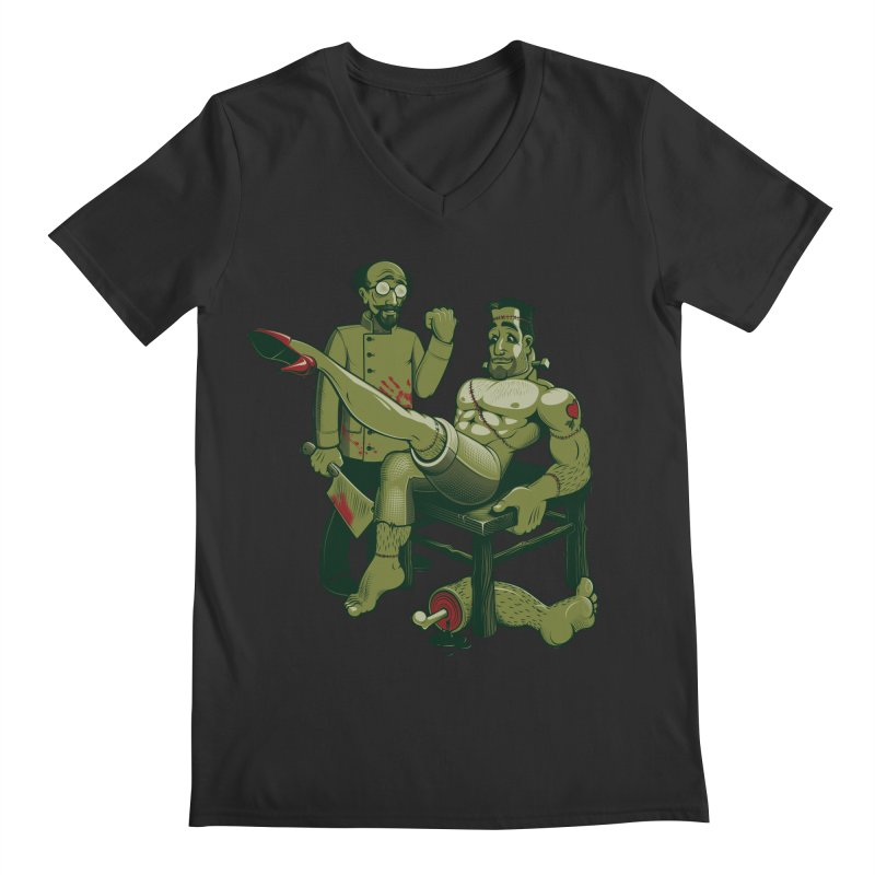 FrankenFine Men's Regular V-Neck by Leon's Artist Shop