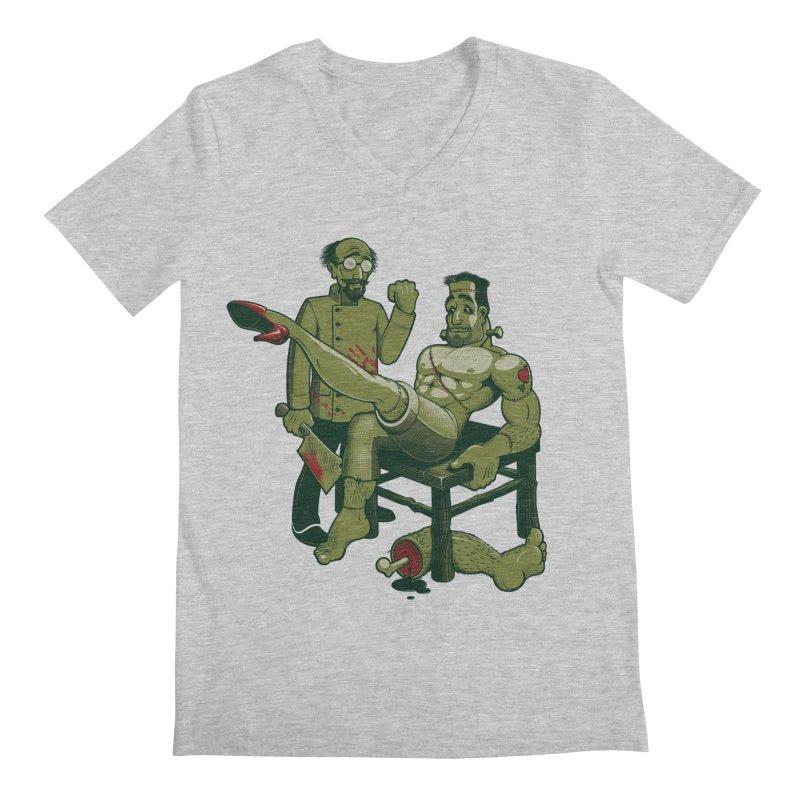 FrankenFine Men's Regular V-Neck by Leon's Artist Shop