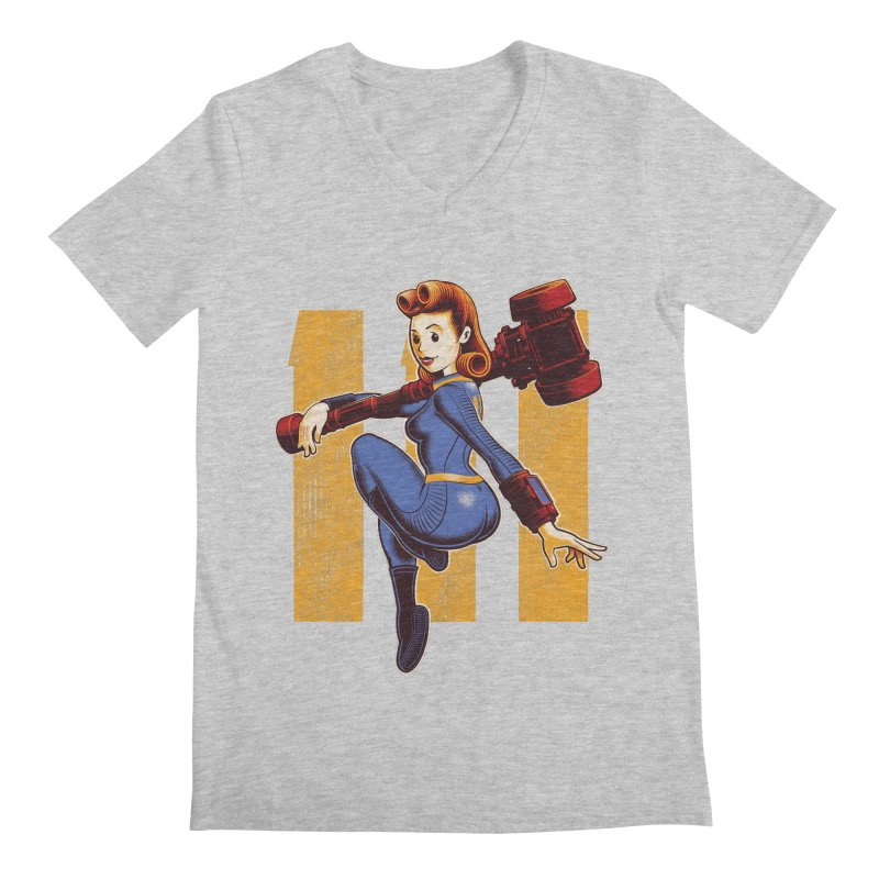 Vault Girl Men's Regular V-Neck by Leon's Artist Shop