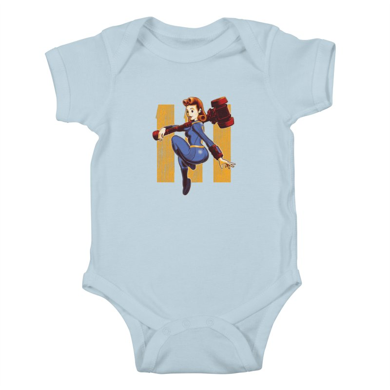 Vault Girl Kids Baby Bodysuit by Leon's Artist Shop