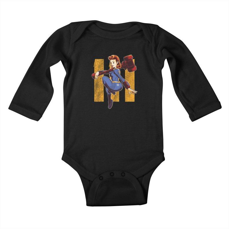 Vault Girl Kids Baby Longsleeve Bodysuit by Leon's Artist Shop
