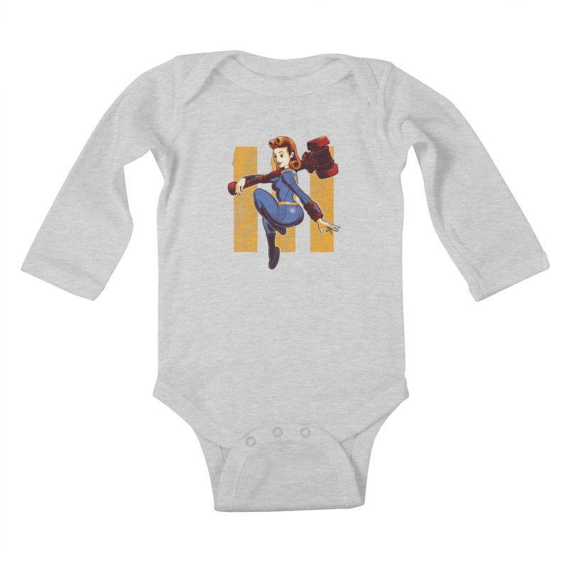 Vault Girl Kids Baby Longsleeve Bodysuit by Leon's Artist Shop