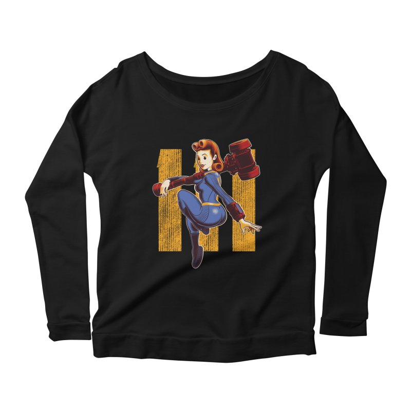 Vault Girl Women's Longsleeve Scoopneck  by Leon's Artist Shop