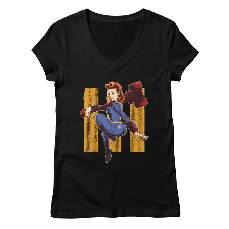 Vault Girl Women's Regular V-Neck by Leon's Artist Shop