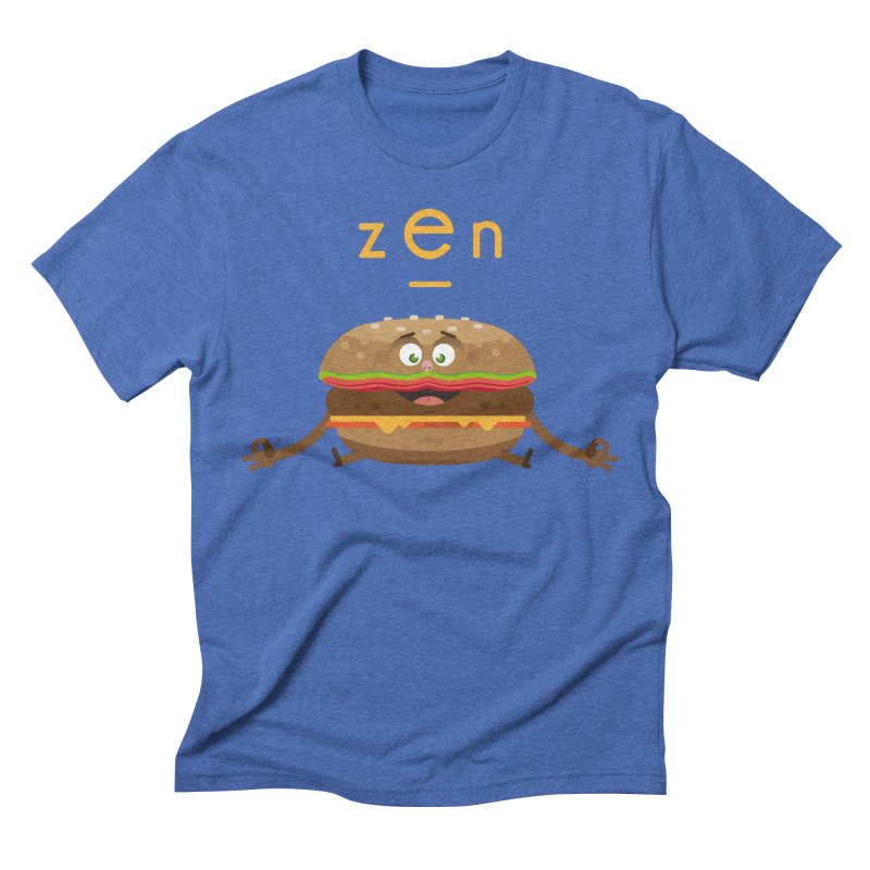 ZEN hamburger in Men's Triblend T-shirt Blue Triblend by lepetitcalamar's Artist Shop